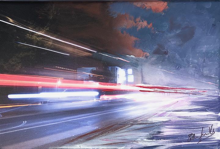 """Traffic - Stampa su tela fotografica + pittura ad acrilico Foto: """"Traffic"""" di Giovanni Modesti Pittrice: Catia Leonelli"""